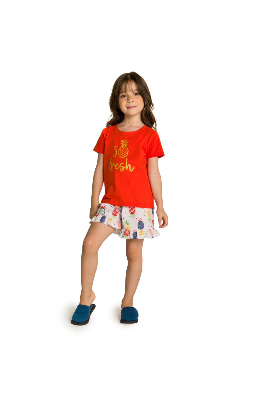 005/D - Pijama Infantil Feminino So Fresh com Babado