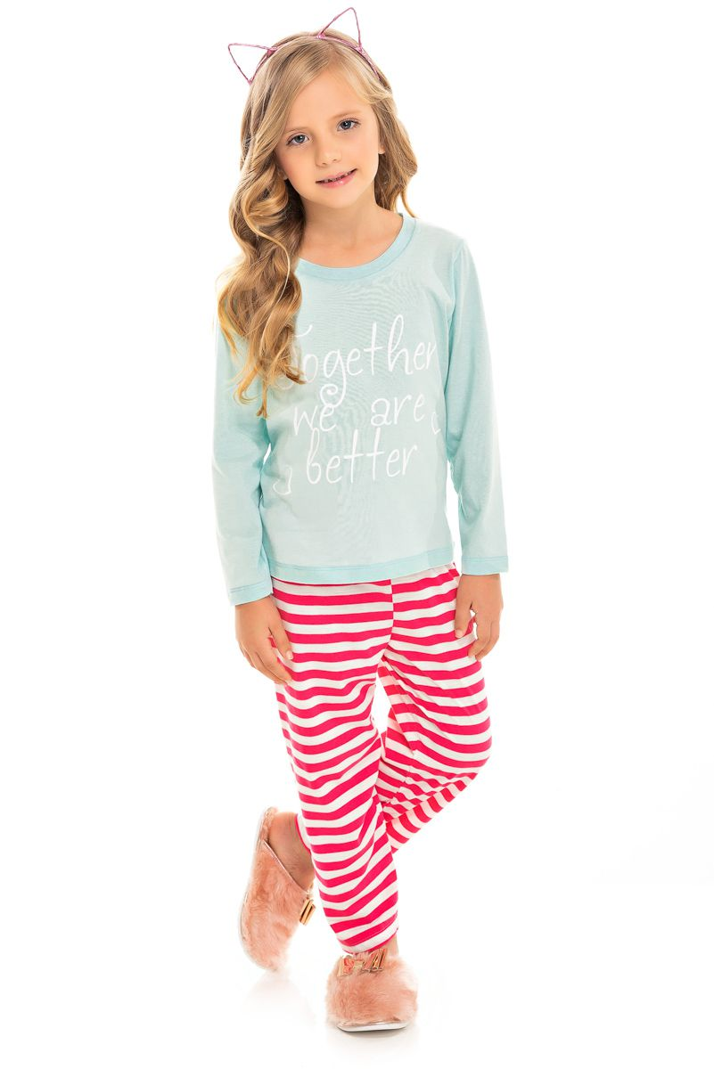 Pijama Infantil Feminino Together We Are Letter
