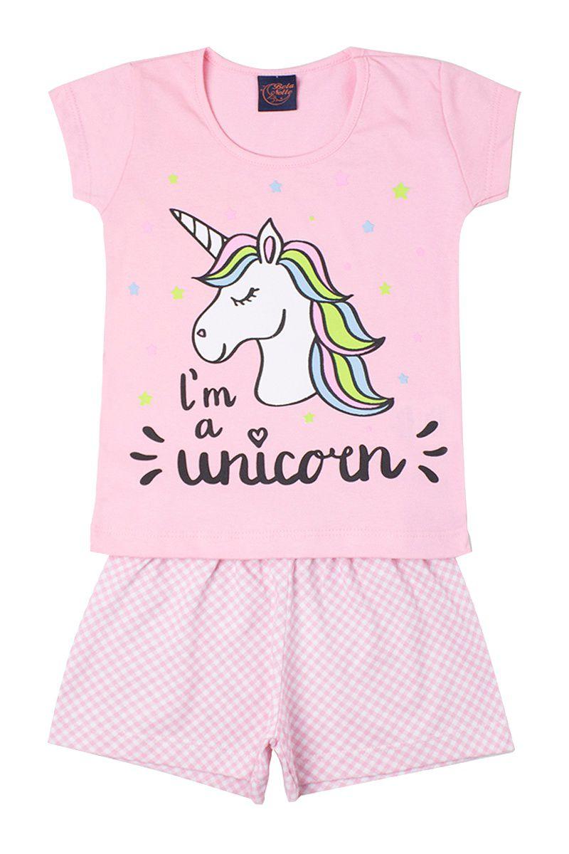 Pijama infantil Feminino Unicórnio