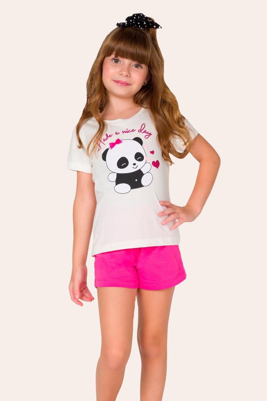 033/F - Pijama Infantil Feminino Ursinho Panda
