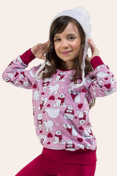 017/C - Pijama Infantil Feminino Ursinhos