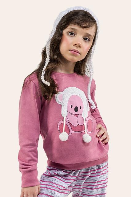018/C - Pijama Infantil Feminino Quentinho Com Pompom