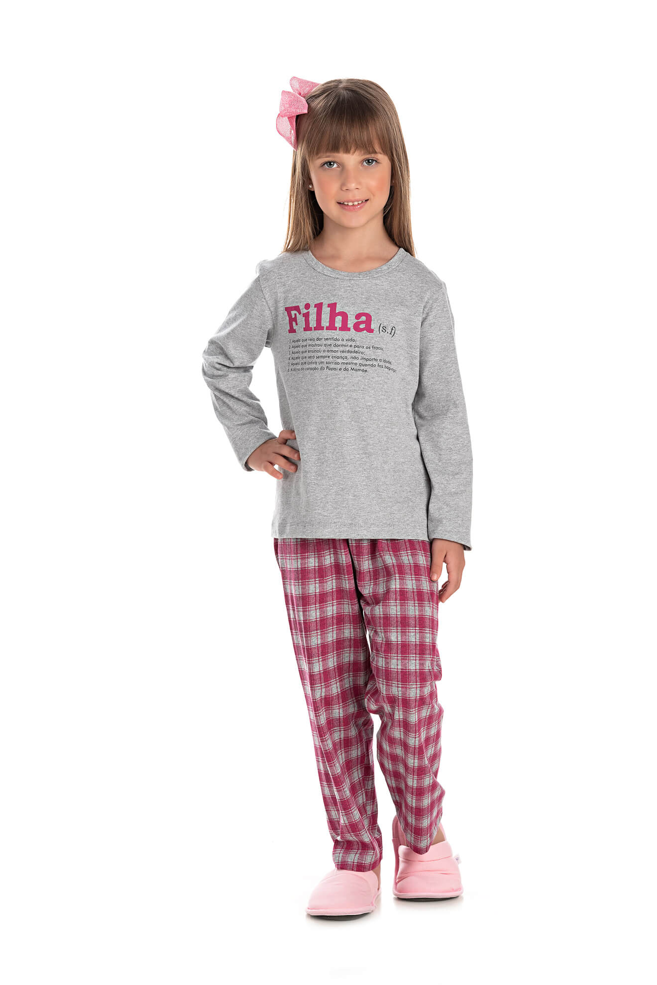 004/F - Pijama Infantil Feminino Xadrez Família Completa