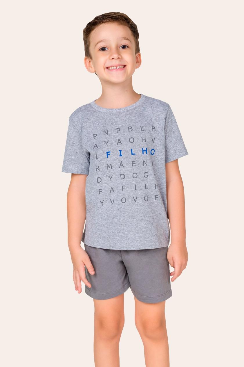 039/L - Pijama Infantil Masculino Caça-palavras - Filho