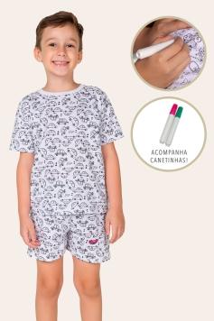 043/B - Pijama Infantil Masculino Carros - Para Colorir