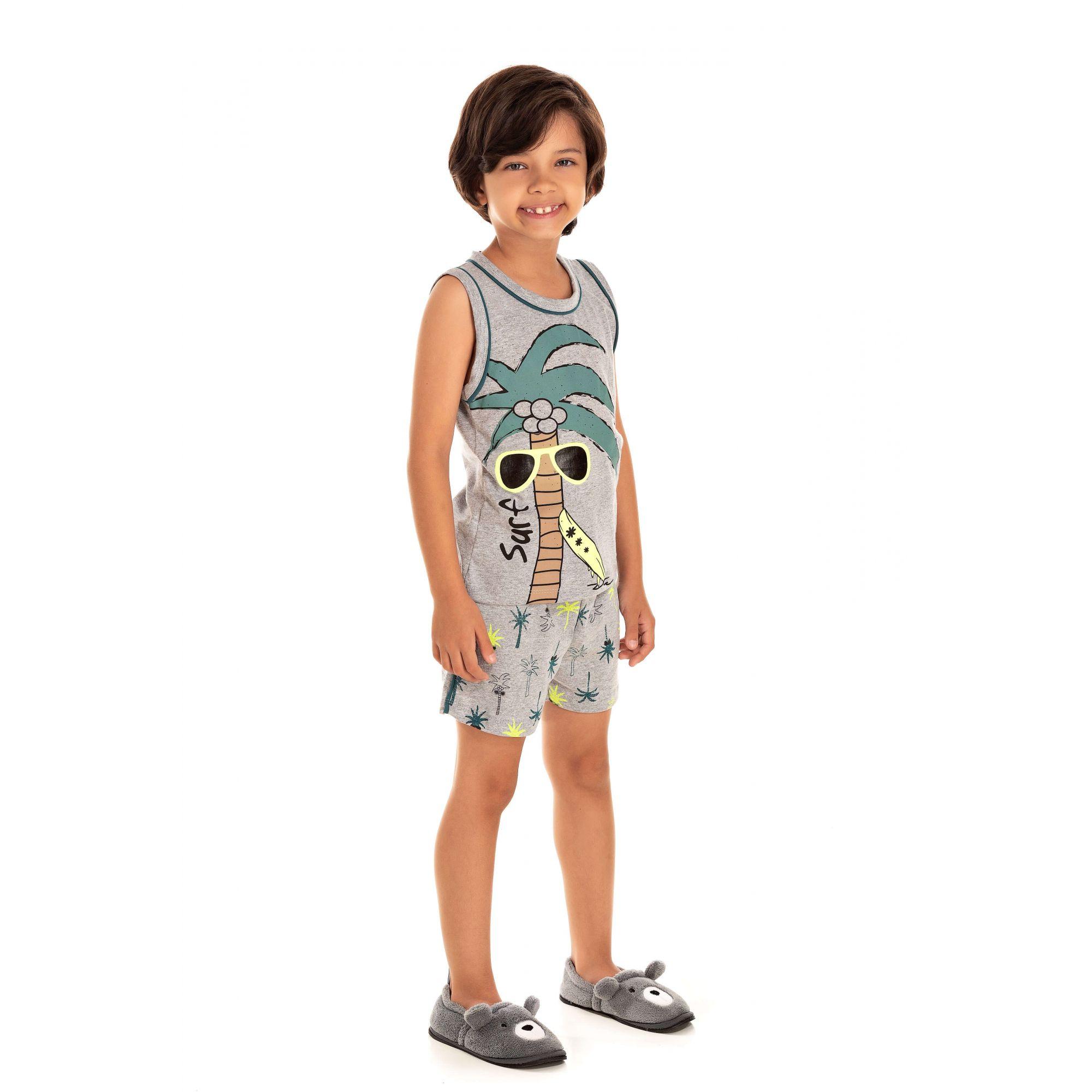 Pijama Infantil Masculino Coqueiro Surf - Cinza