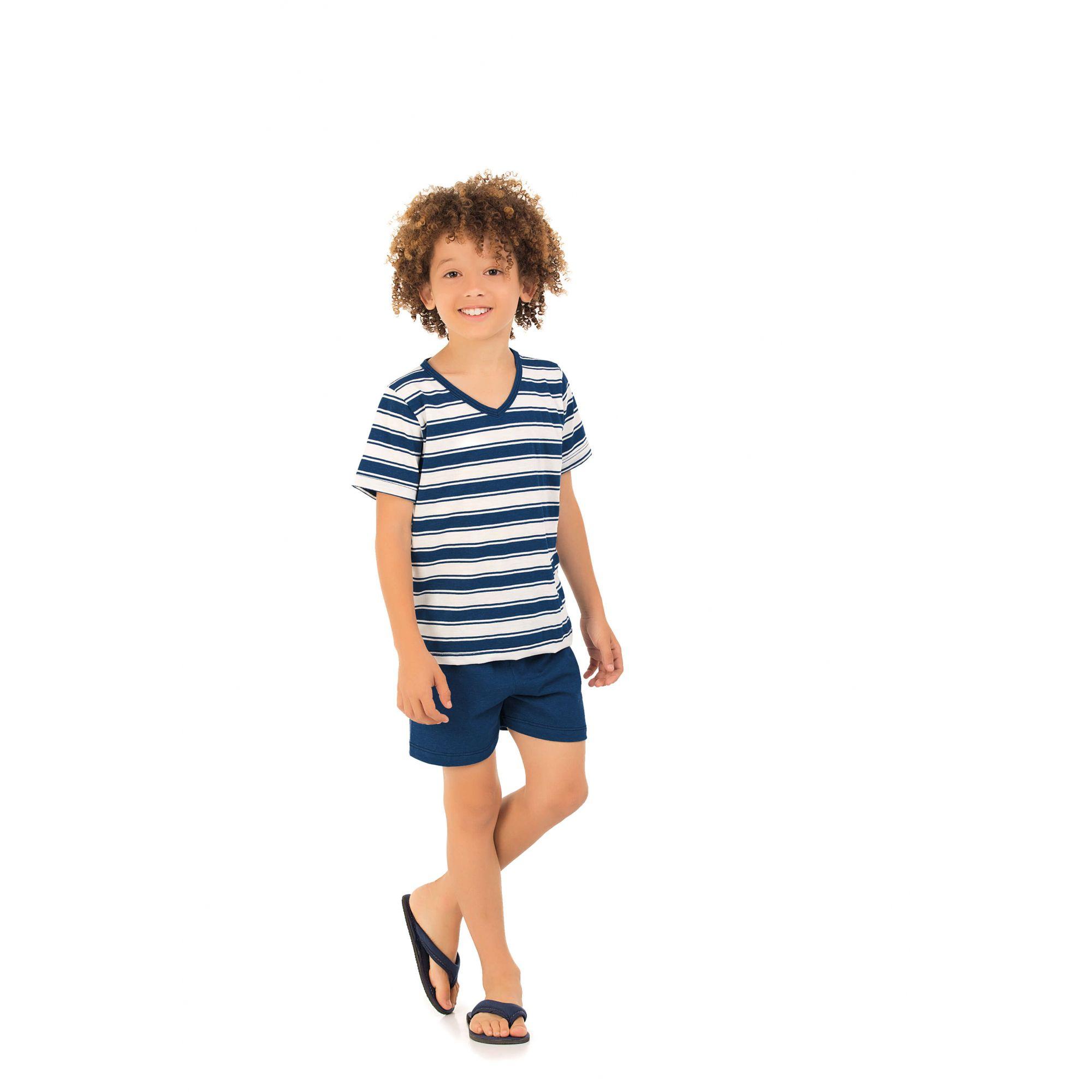 108/F - Pijama Infantil Masculino Curto Listrado