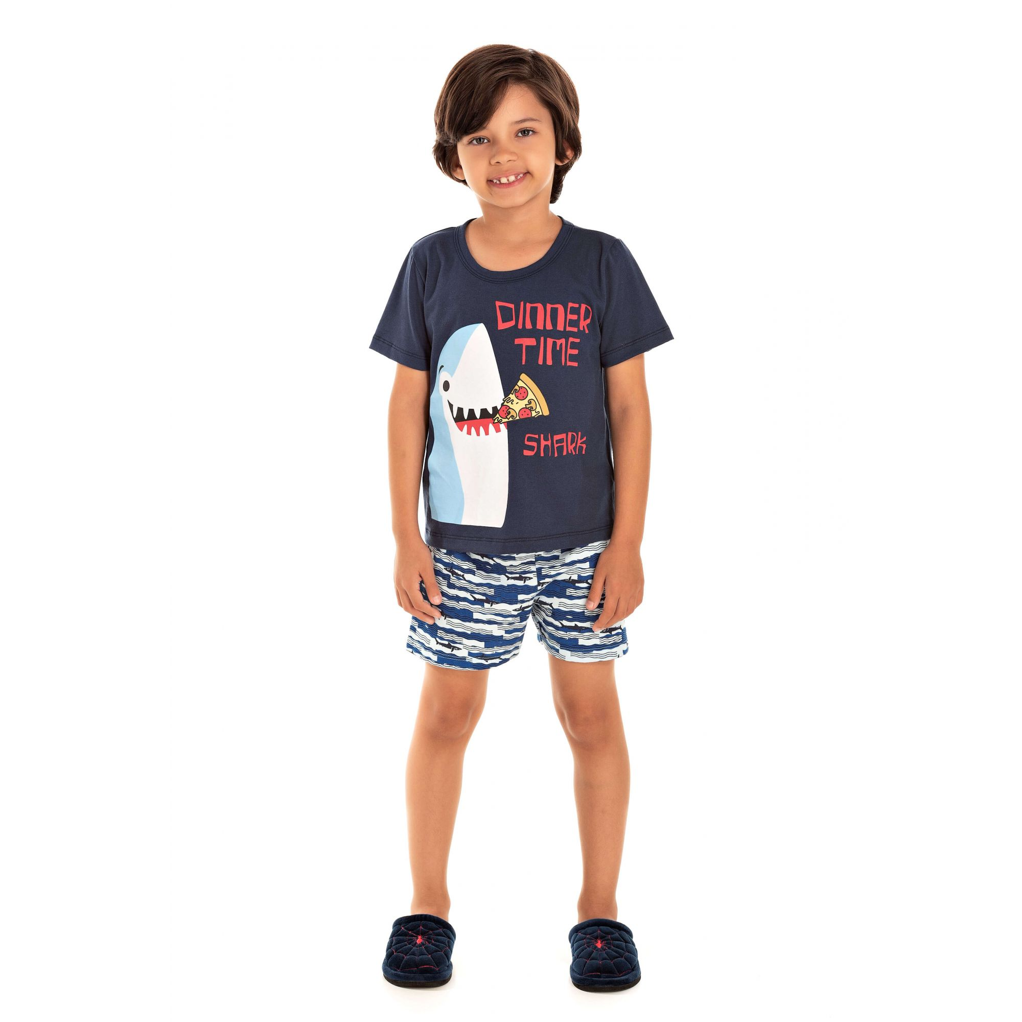 Pijama Infantil Masculino Dinner Time Shark - Marinho