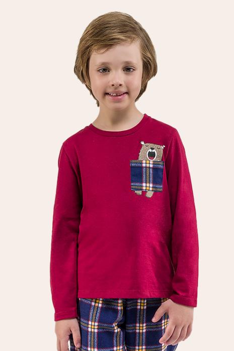000/G - Pijama Infantil Masculino Família Xadrez