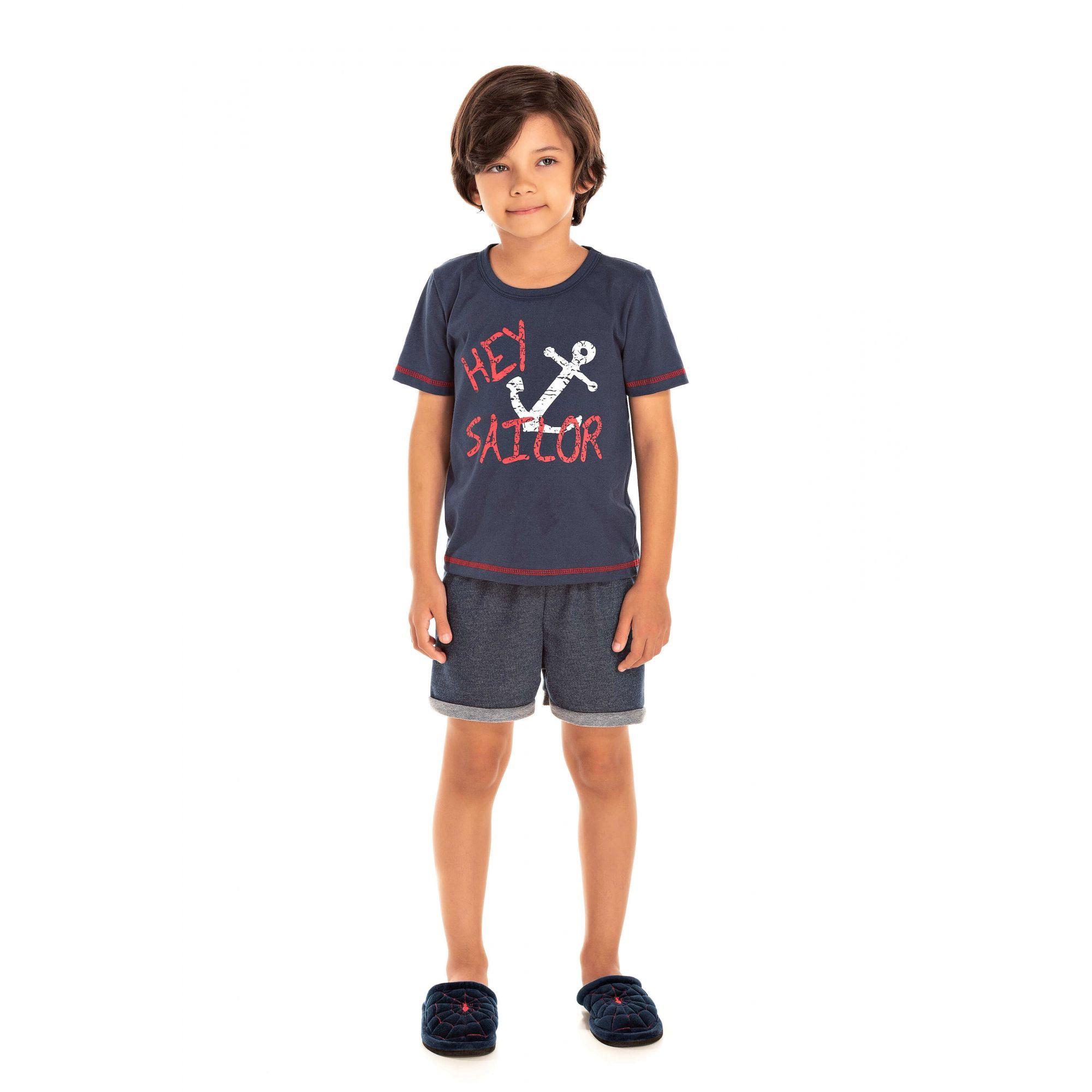 012 - Pijama Infantil Masculino Hey Sailor -  Marinho