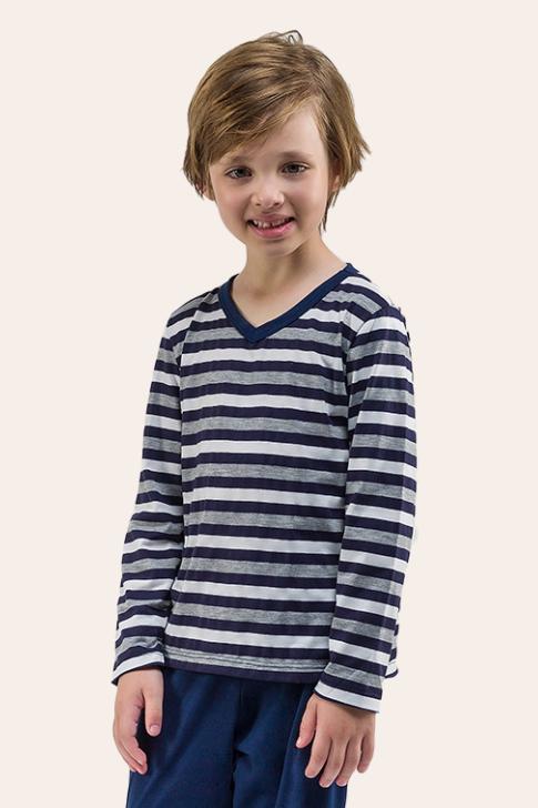 010/C - Pijama Infantil Masculino Listrado Decote V