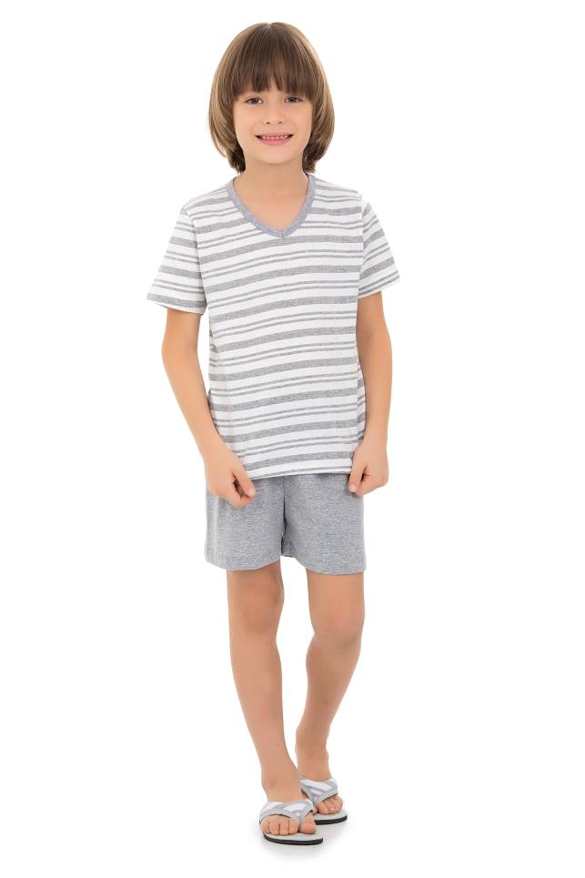 200/C - Pijama  Infantil Masculino Listras Mescla