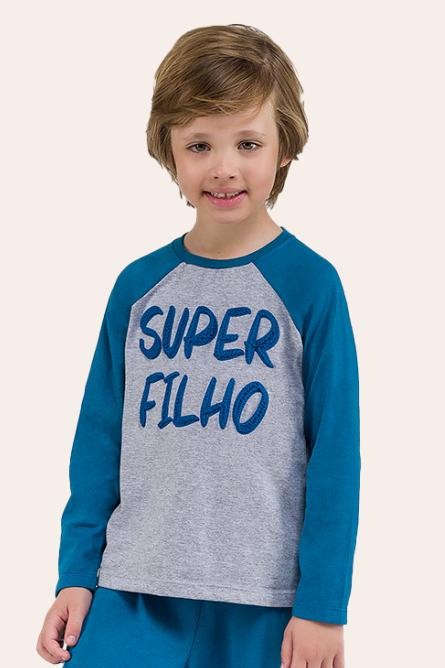 020/H - Pijama Infantil Masculino Manga Longa-  Super Filho