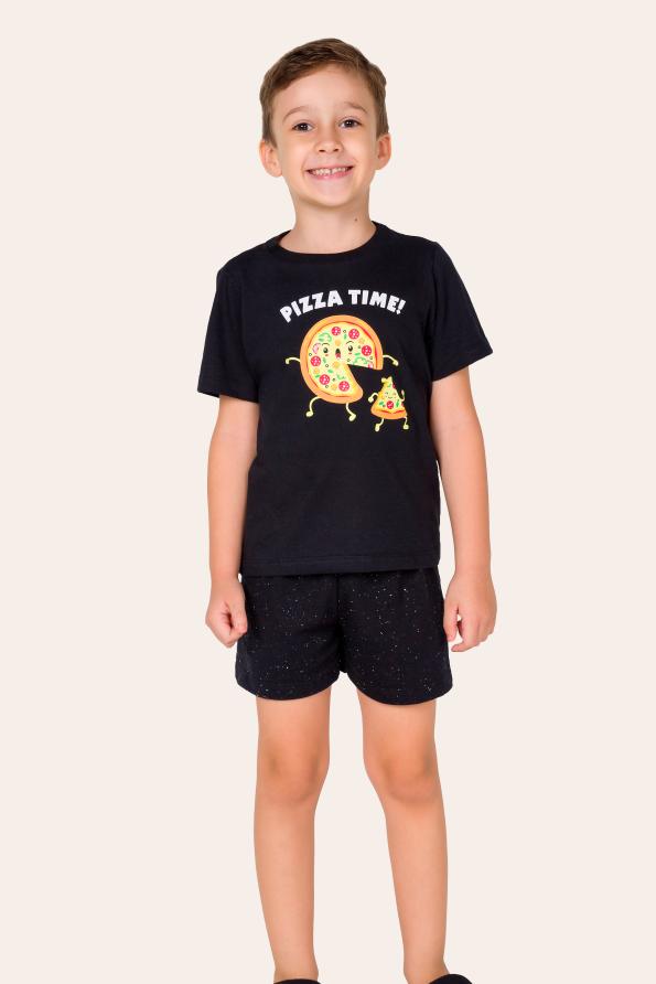 007/F - Pijama Infantil Masculino Pizza Time - Família