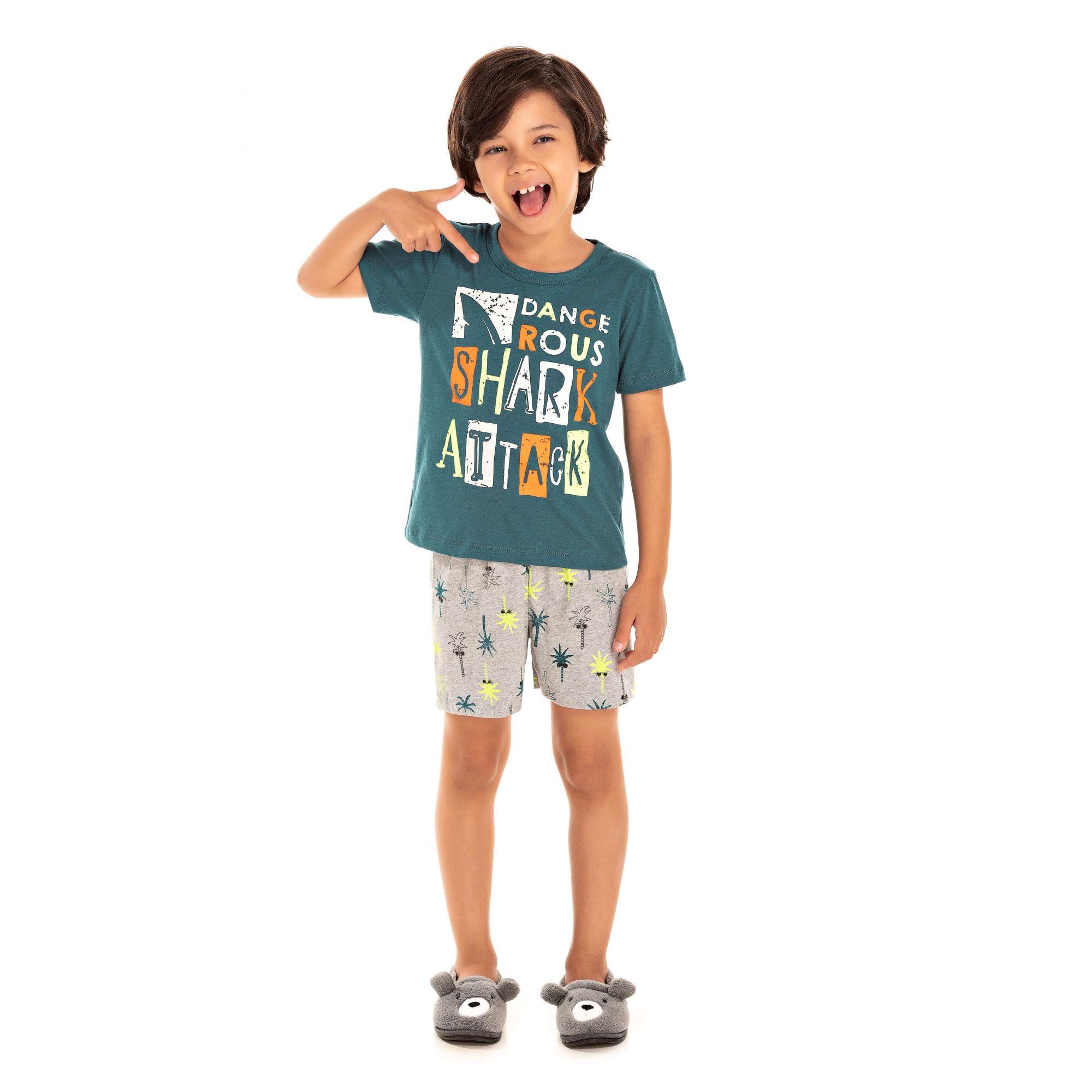 Pijama Infantil Masculino Shark Attack - Verde