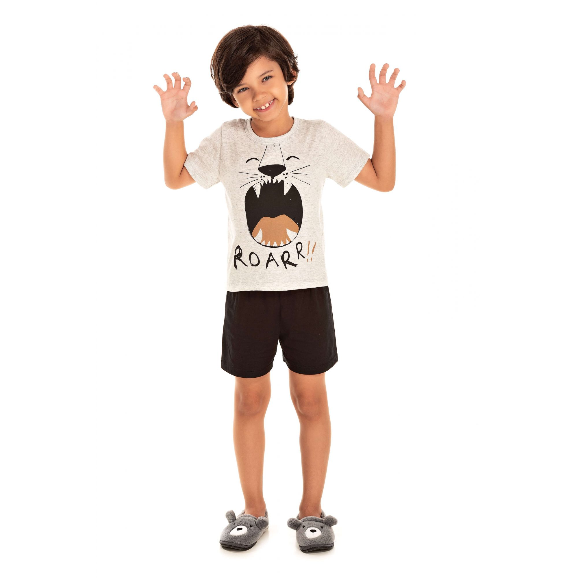 100/F - Pijama Infantil Masculino Tigre - Pérola