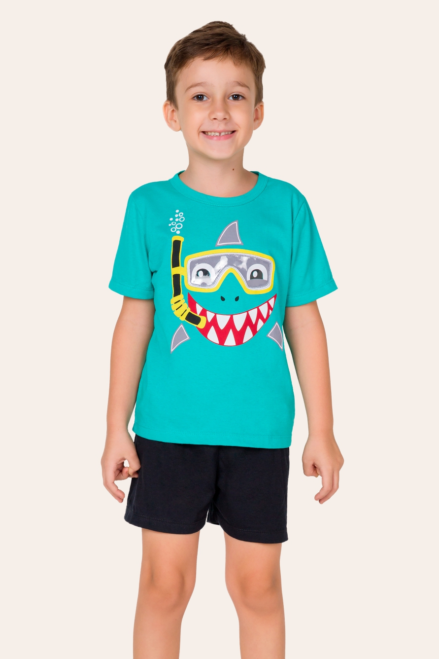 007/F - Pijama Infantil Masculino Tubarão