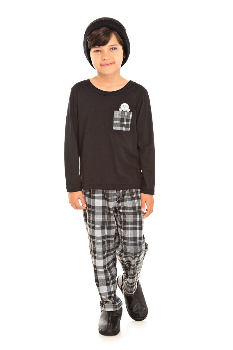 093/F - Pijama Infantil Masculino Xadrez