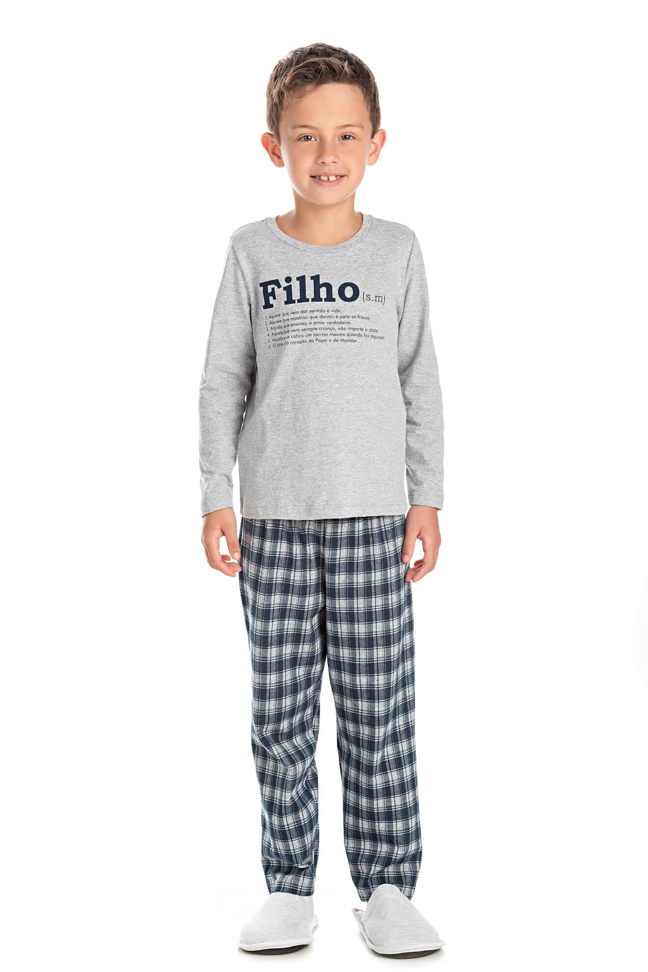 004/C - Pijama Infantil Masculino Xadrez Família Completa