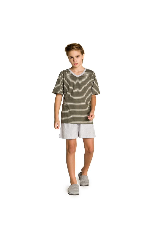 007/B - Pijama Juvenil Masculino Pai e Filhos Botonê Listrado