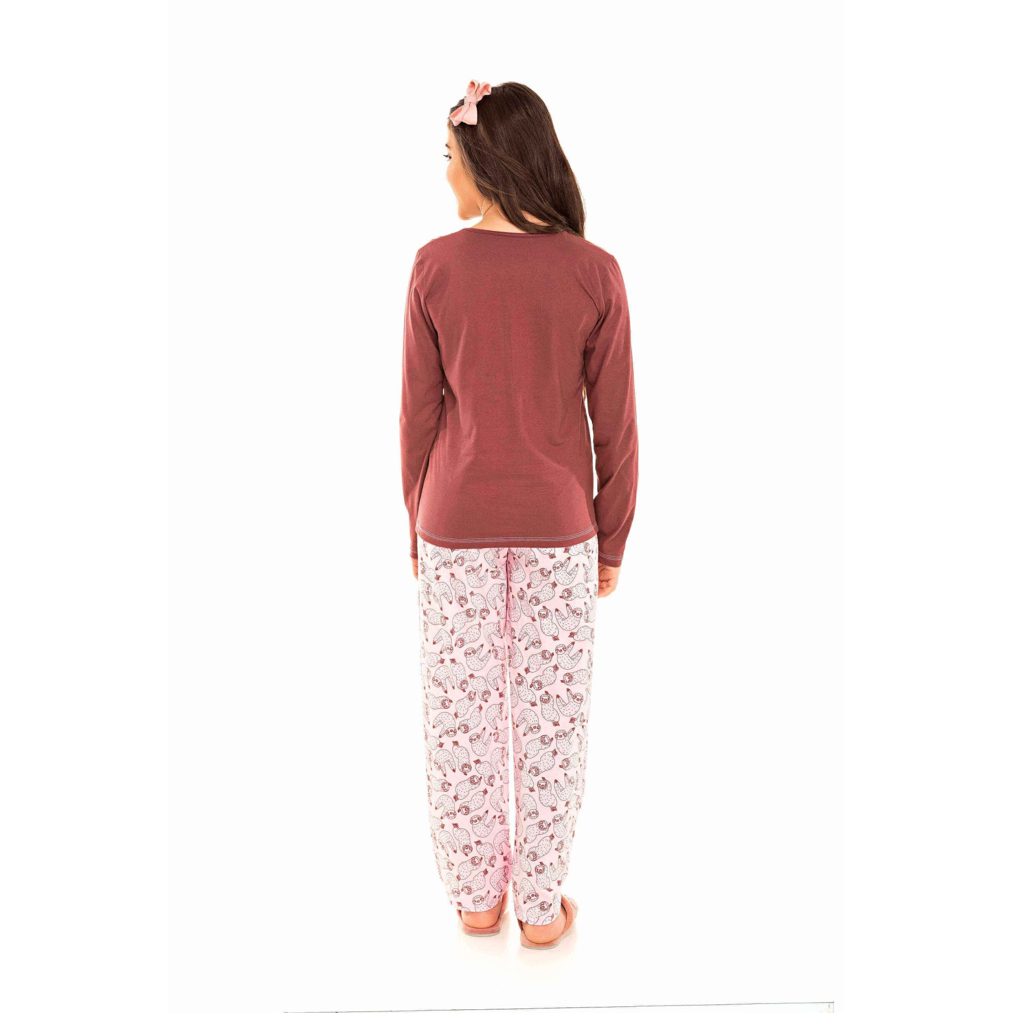 096/B - Pijama  Juvenil Feminino Bicho Preguiça