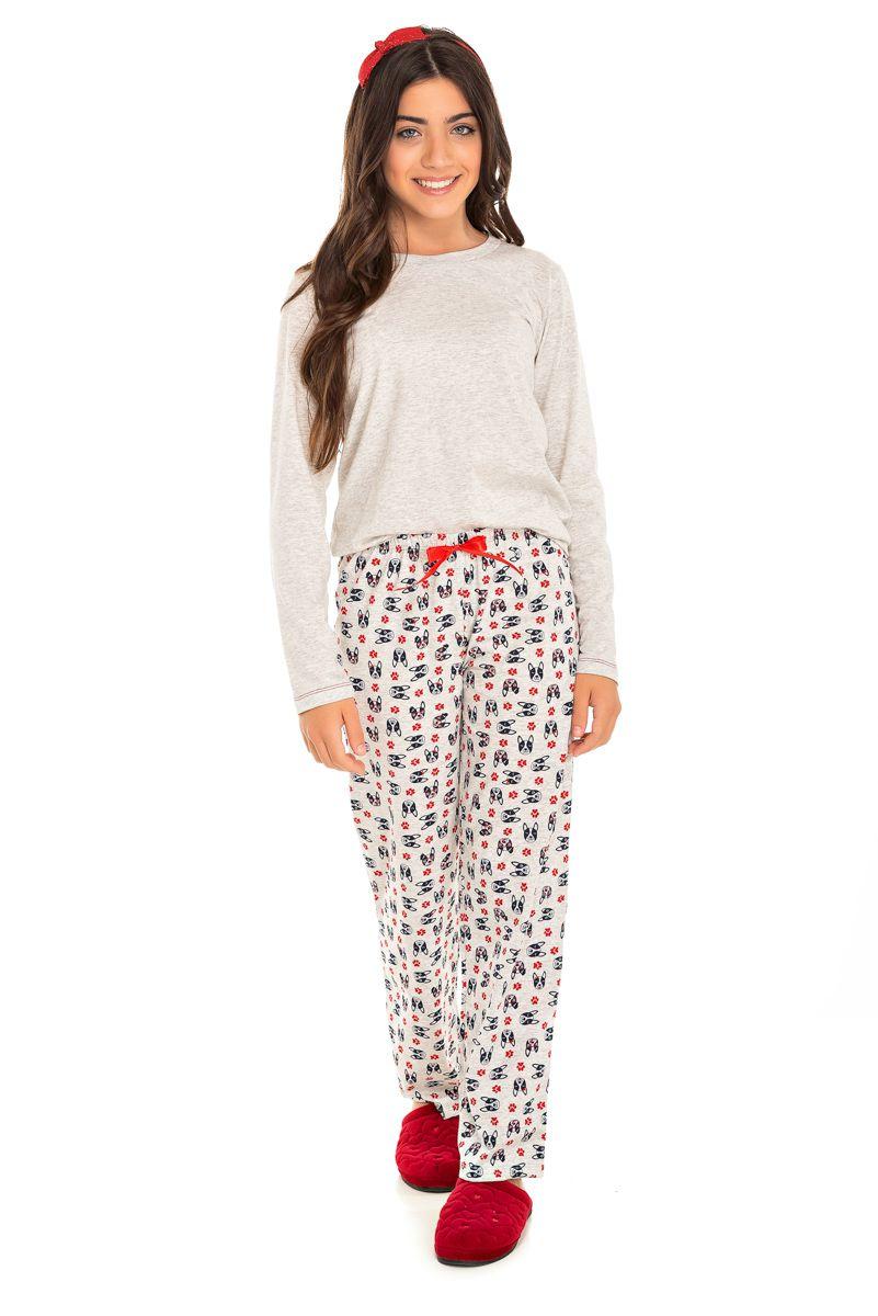 Pijama  Juvenil Feminino Bulldog