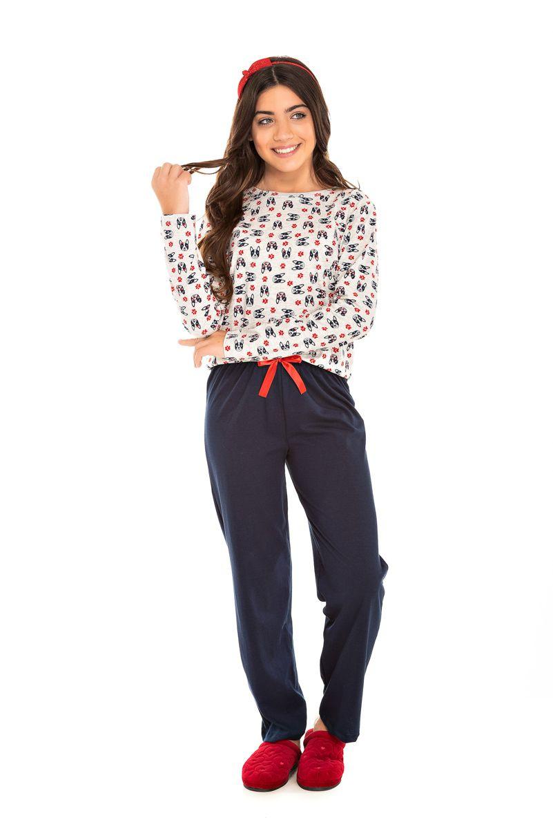 Pijama  Juvenil Feminino Bulldog Marinho