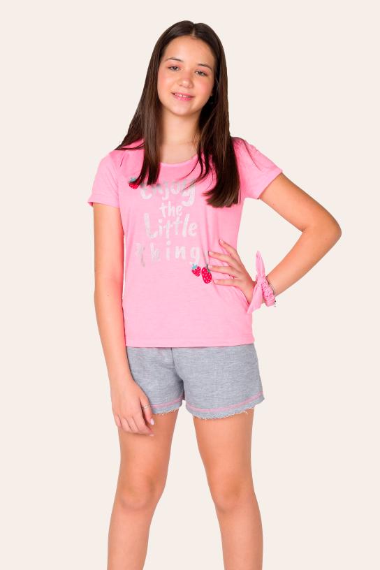 Pijama Juvenil Feminino Enjoy Com Scrunchie