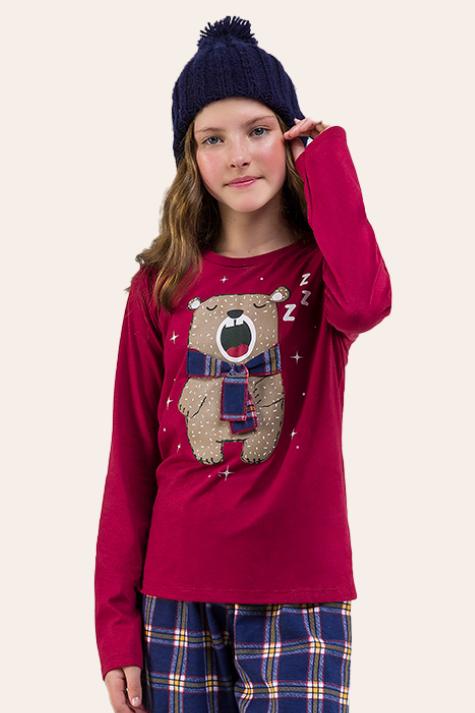 000/B - Pijama  Juvenil Feminino Família Xadrez