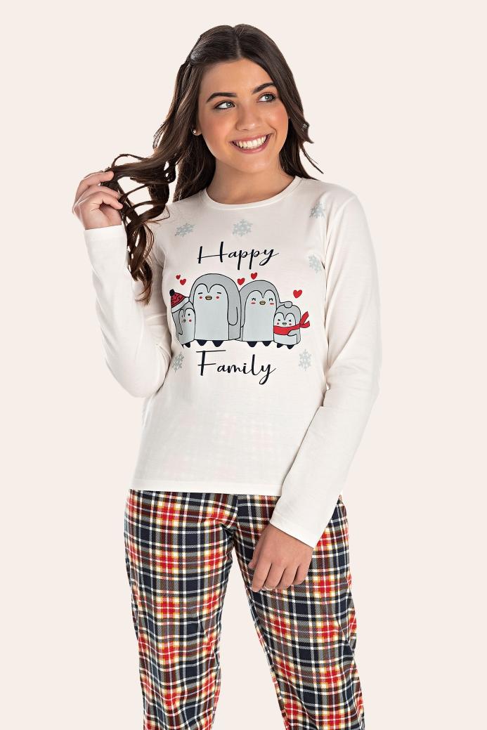 002/B - Pijama Juvenil Feminino Happy Family