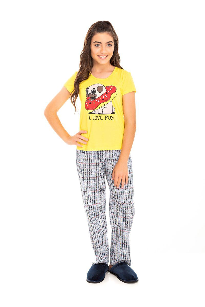 Pijama Juvenil Feminino I Love Pug