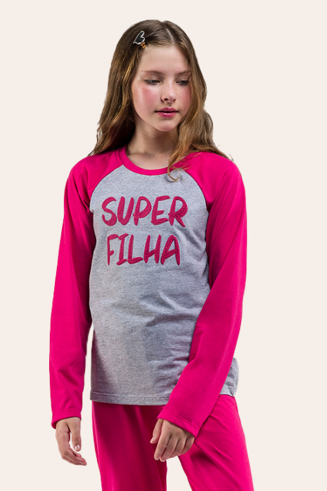 001/C - Pijama Juvenil Feminino Manga Longa -  Super Filha