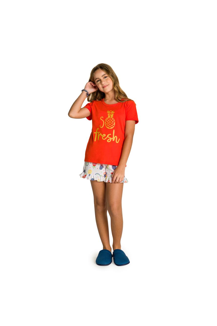 005/C - Pijama Juvenil Feminino So Fresh com Babado