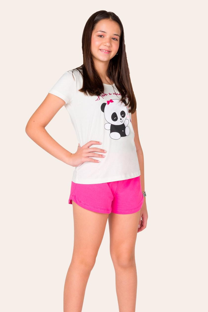 033/E - Pijama Juvenil Feminino Ursinho Panda