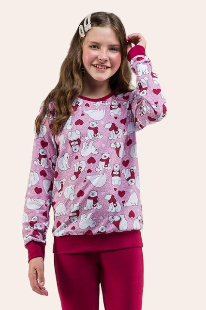 017/B - Pijama Juvenil Feminino Ursinhos