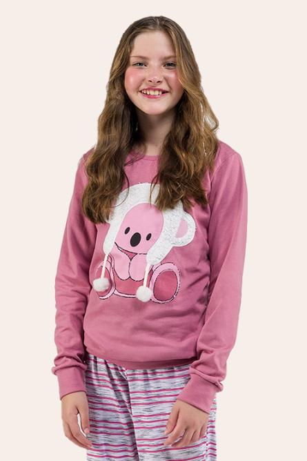 018/B - Pijama  Juvenil Feminino Quentinho Com Pompom