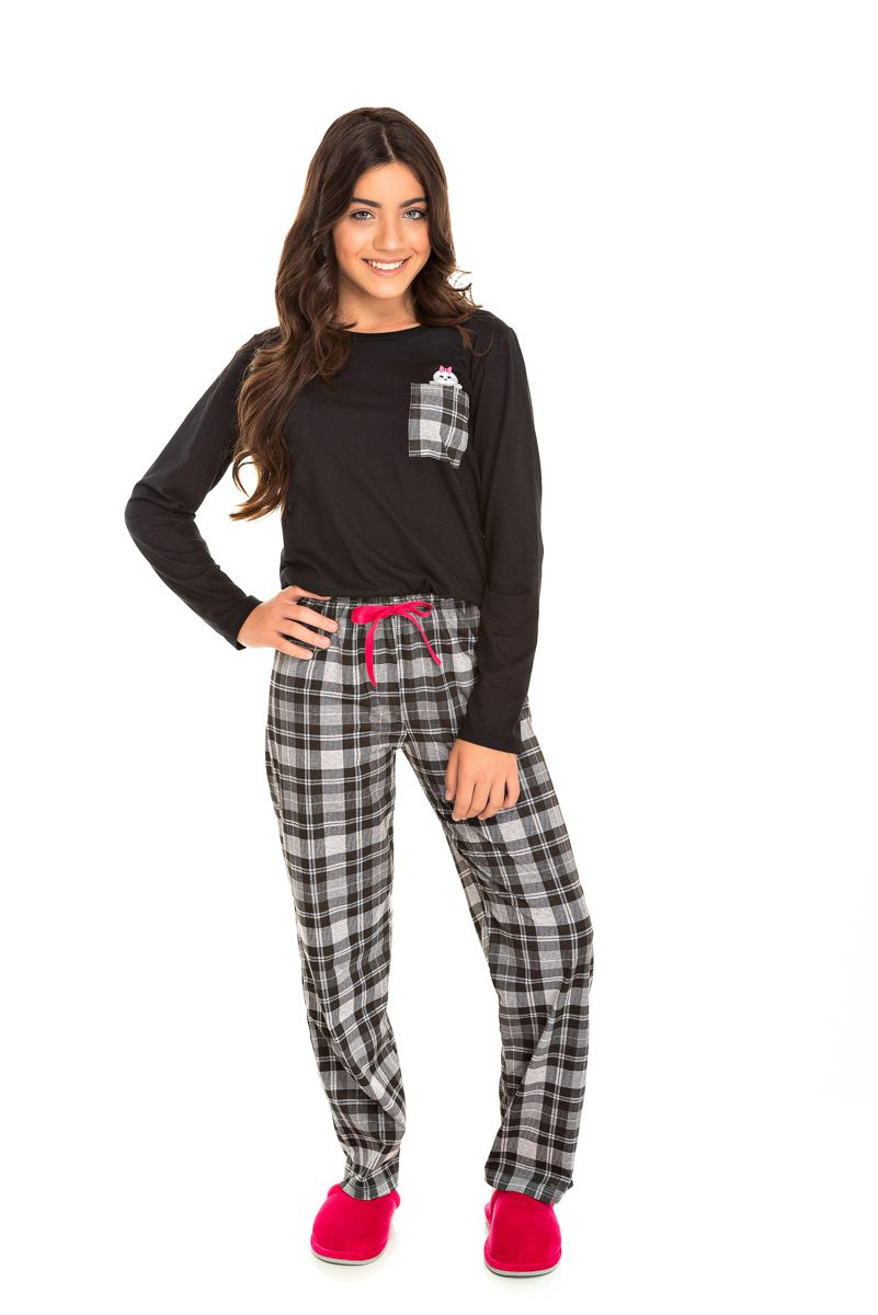 Pijama Juvenil Feminino Xadrez
