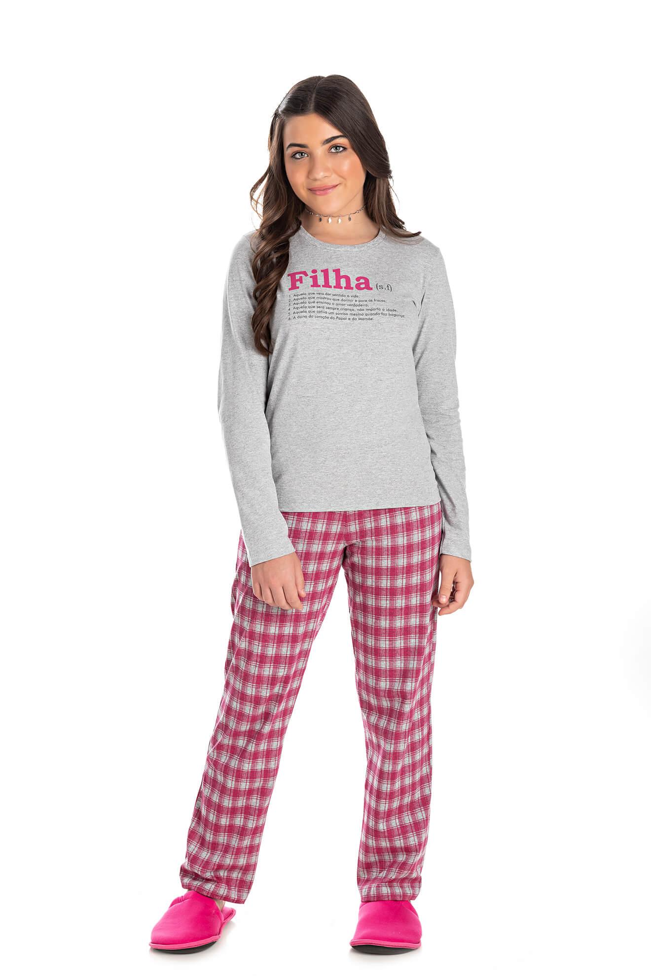 004/E - Pijama Juvenil Feminino Xadrez Família Completa