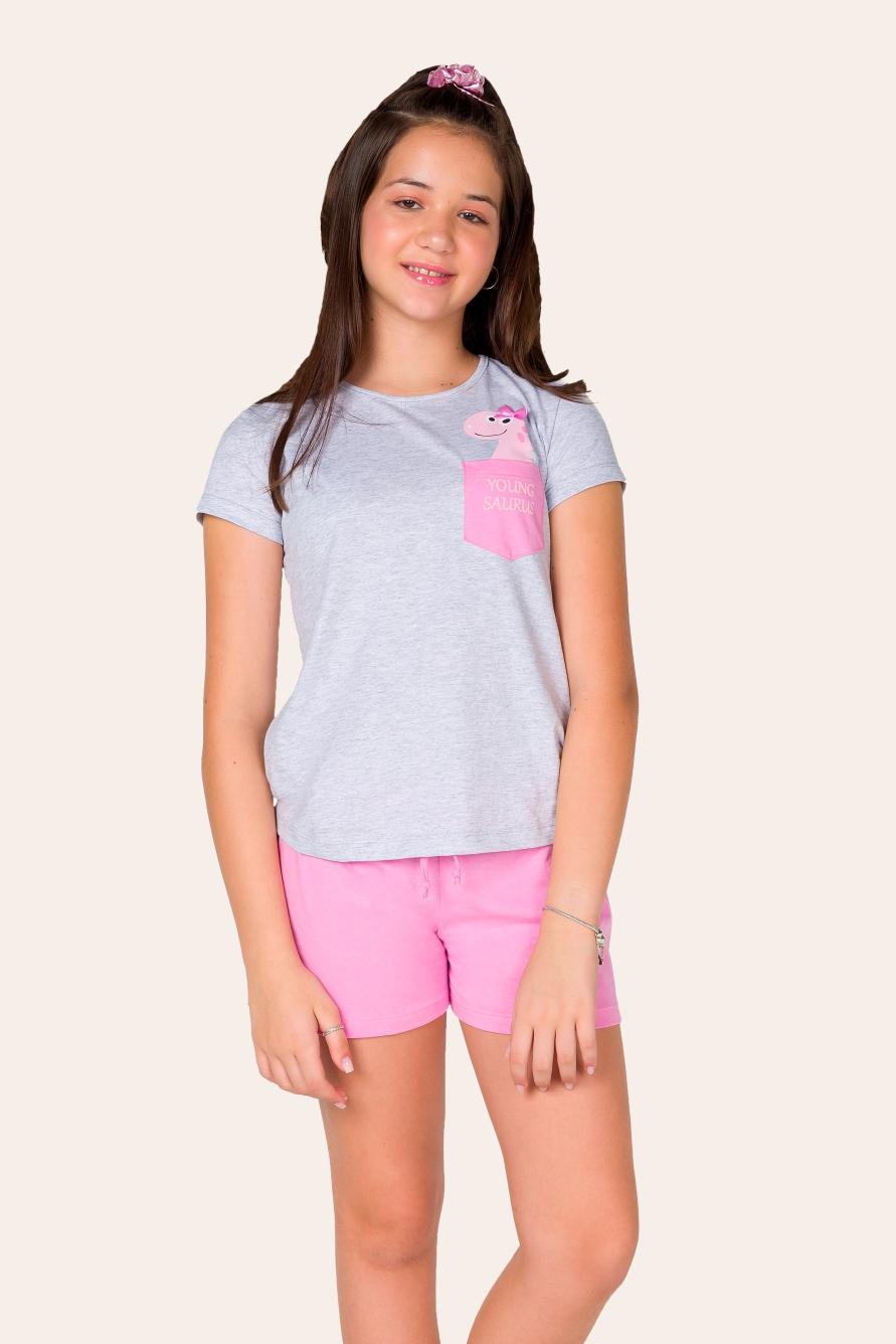 017/B - Pijama Juvenil Feminino Youngsaurus - Família