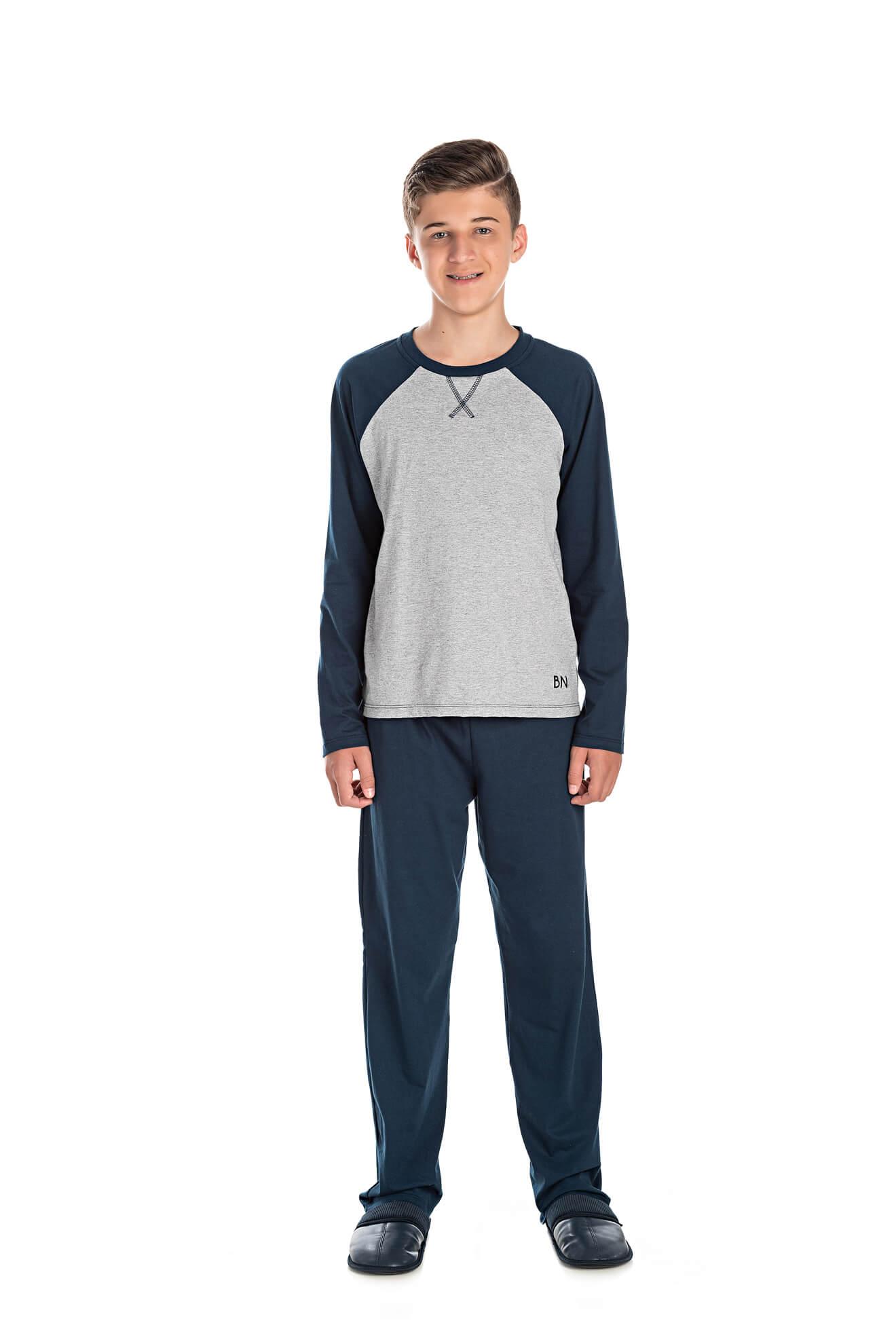 002/B - Pijama Juvenil Masculino com Aplique Termocolante