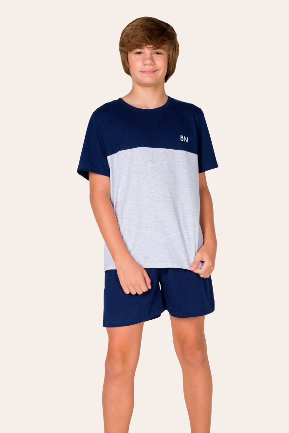 011/B - Pijama Juvenil Masculino com Recorte