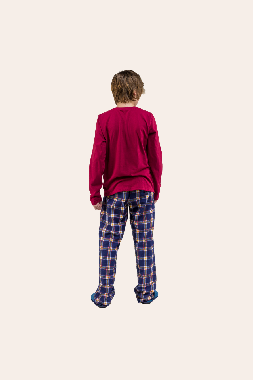 000/F - Pijama Juvenil Masculino Família Xadrez
