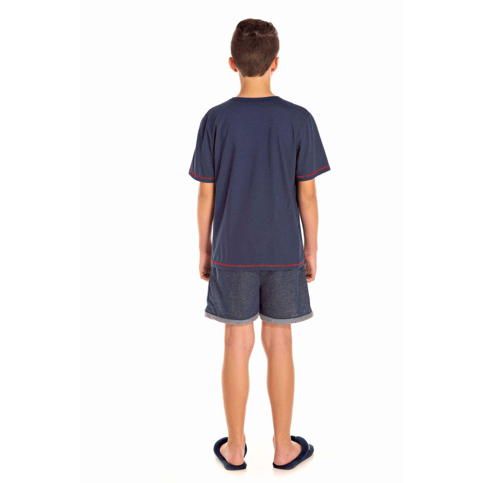 107/E - Pijama Juvenil Masculino Hey Sailor - Marinho