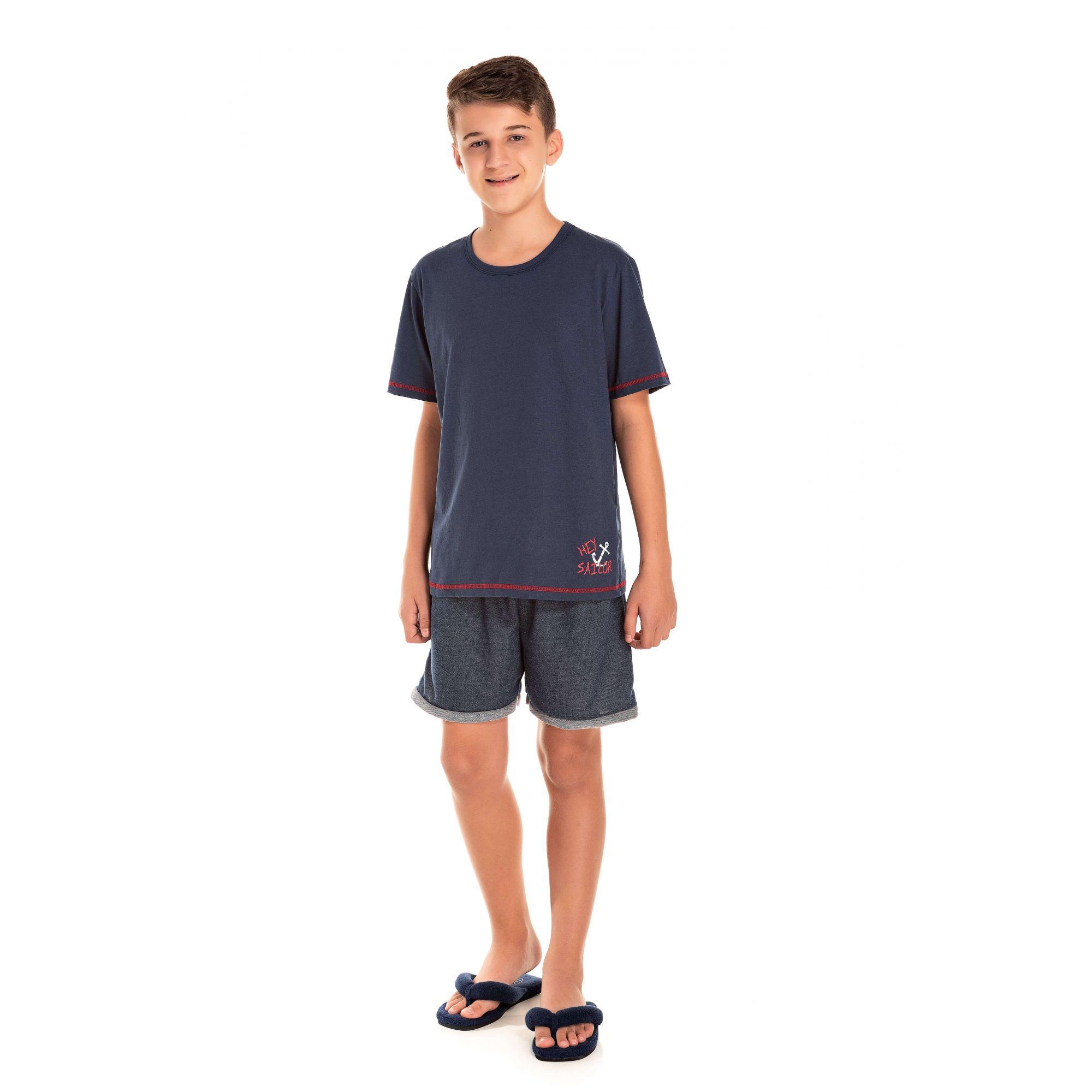 Pijama Juvenil Masculino Hey Sailor - Marinho