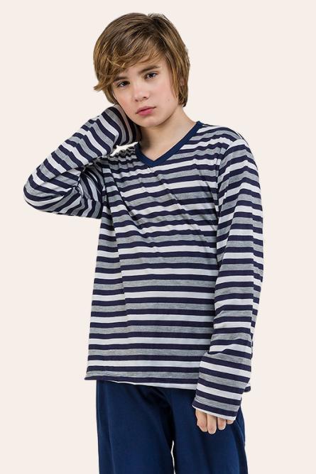 010/B - Pijama Juvenil Masculino Listrado Decote V