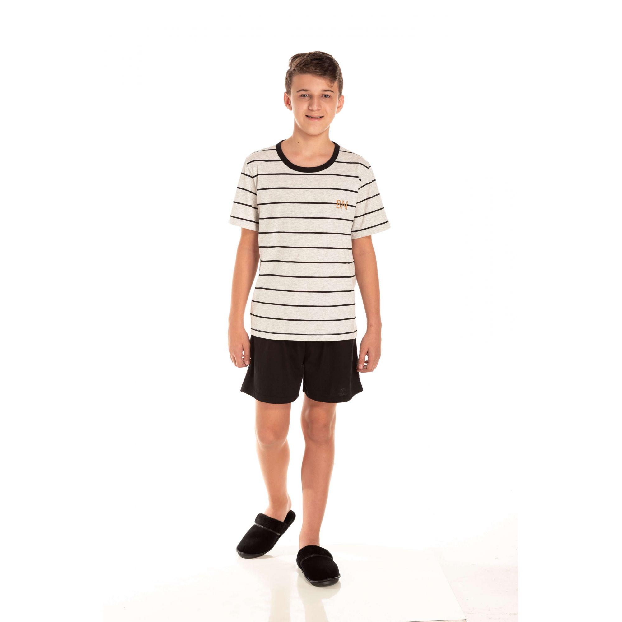 100/E - Pijama Juvenil Masculino Listrado - Pérola