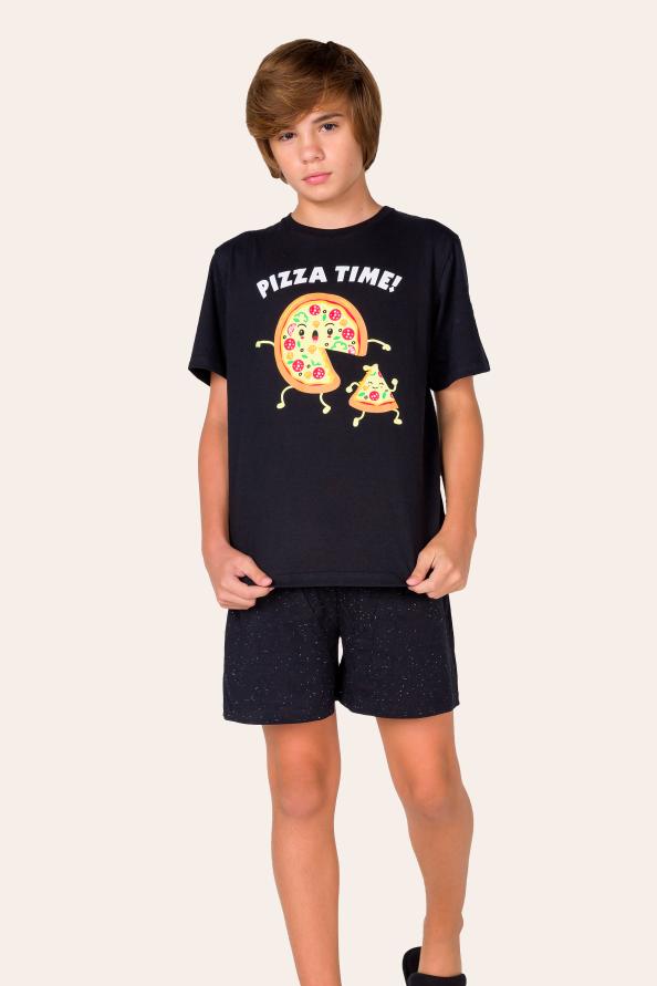 007/E - Pijama Juvenil Masculino  Pizza Time - Família
