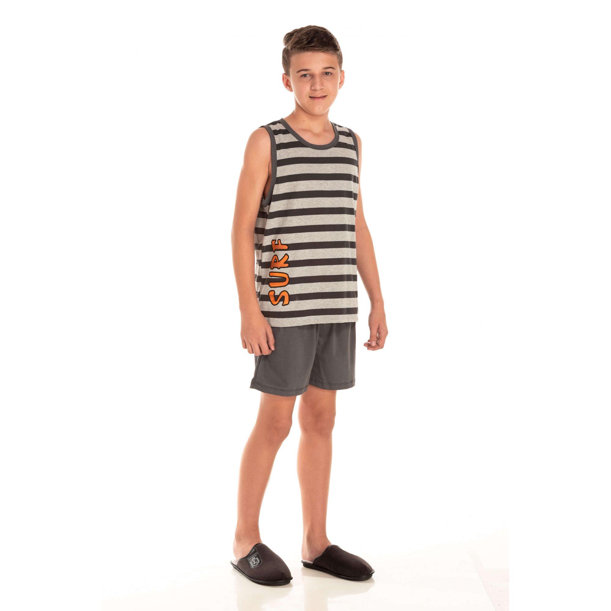 Pijama Juvenil Masculino Surf - Listrado Mescla