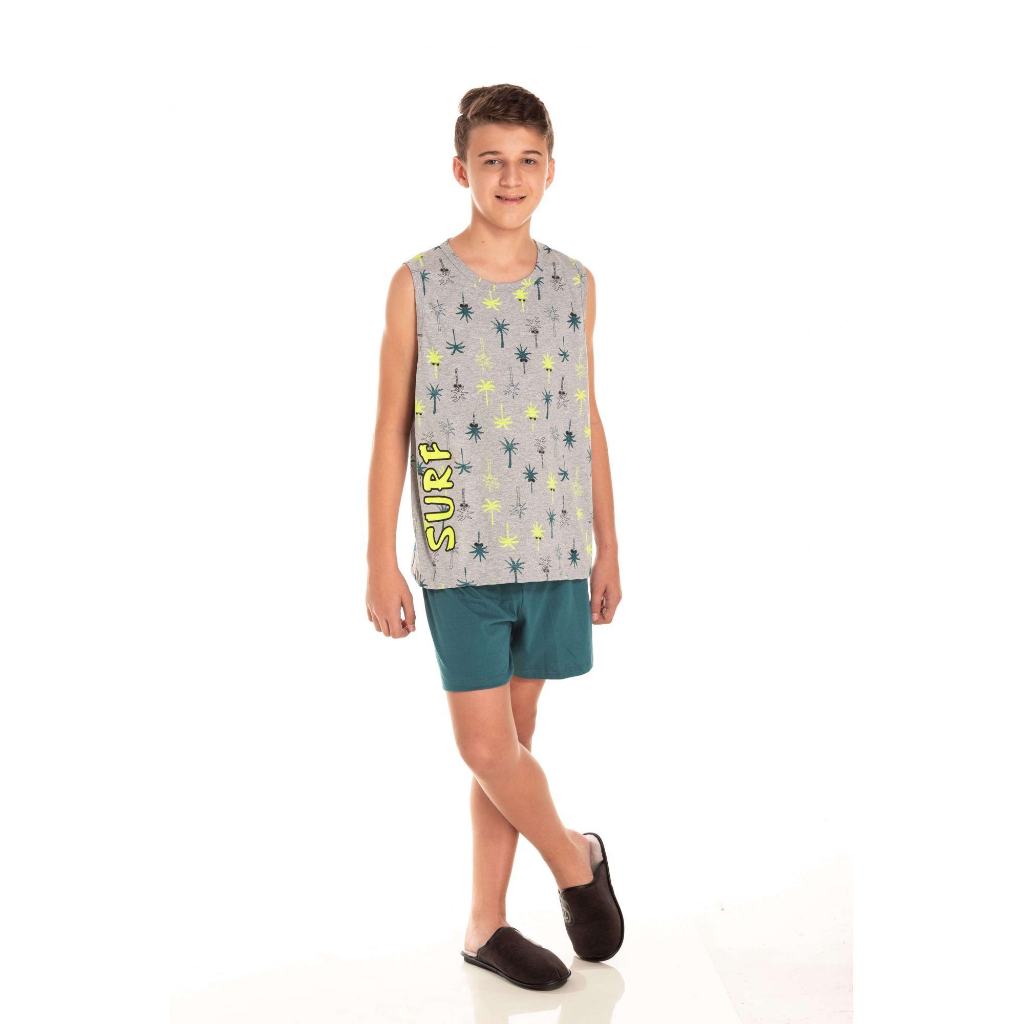 Pijama Juvenil Masculino Surf - Mescla
