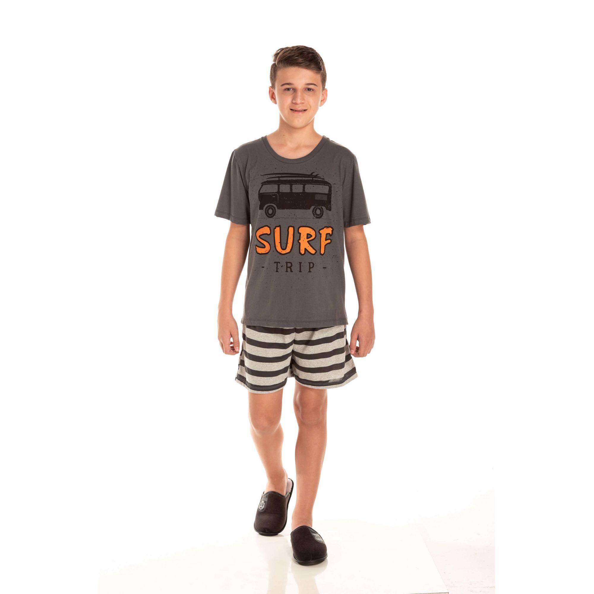 Pijama Juvenil Masculino Surf Trip - Chumbo
